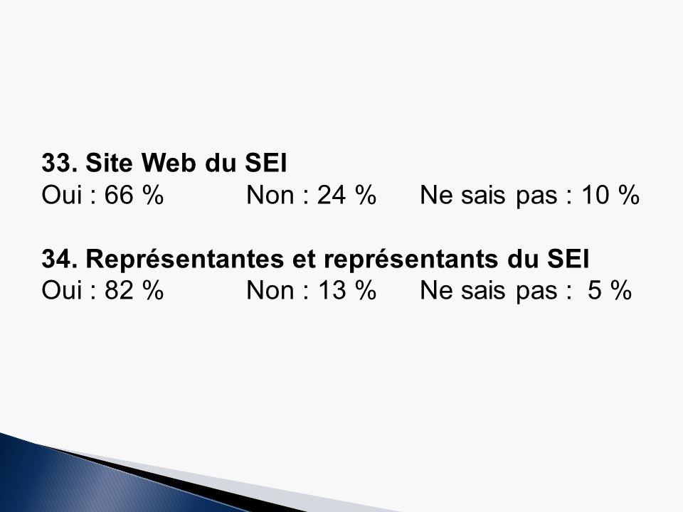 33.Site Web du SEI Oui : 66 %Non : 24 % Ne sais pas : 10 % 34.