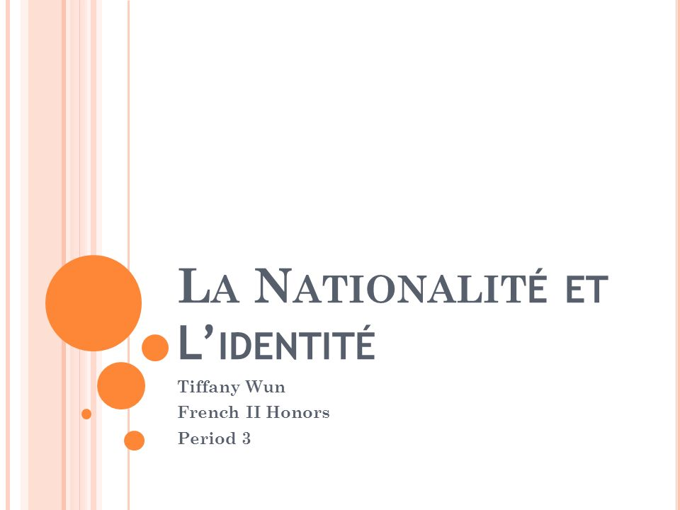 L A N ATIONALIT É ET L IDENTITÉ Tiffany Wun French II Honors Period 3