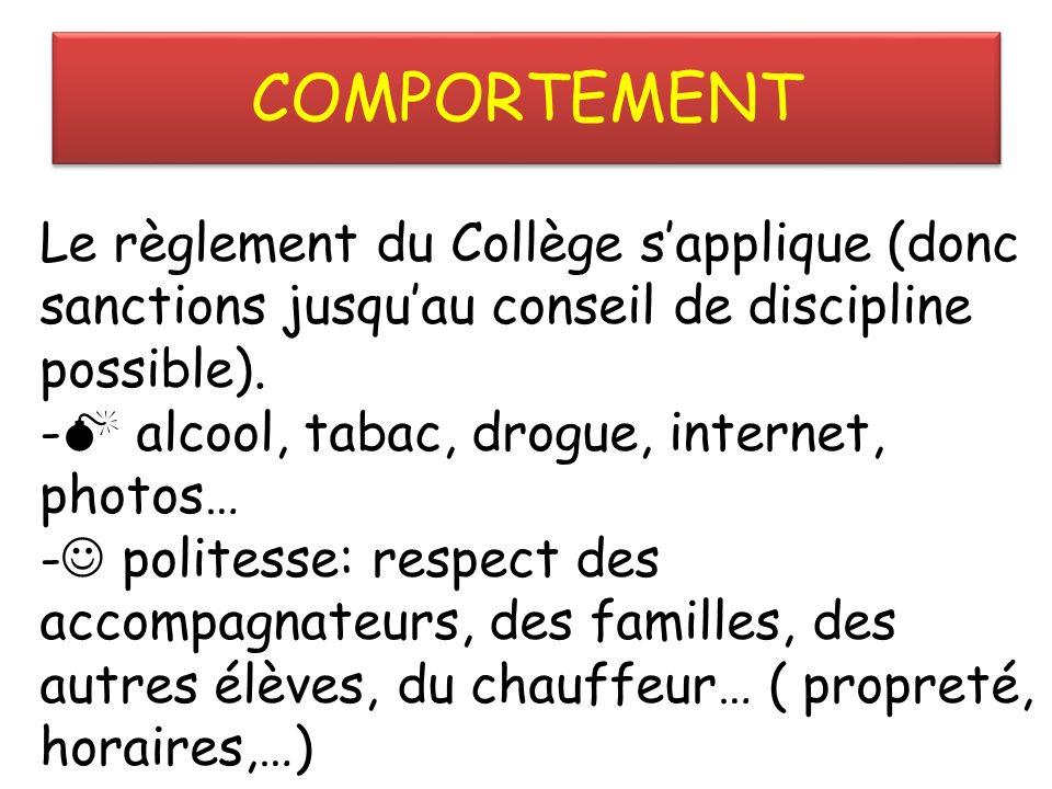 COMPORTEMENT Le règlement du Collège sapplique (donc sanctions jusquau conseil de discipline possible).