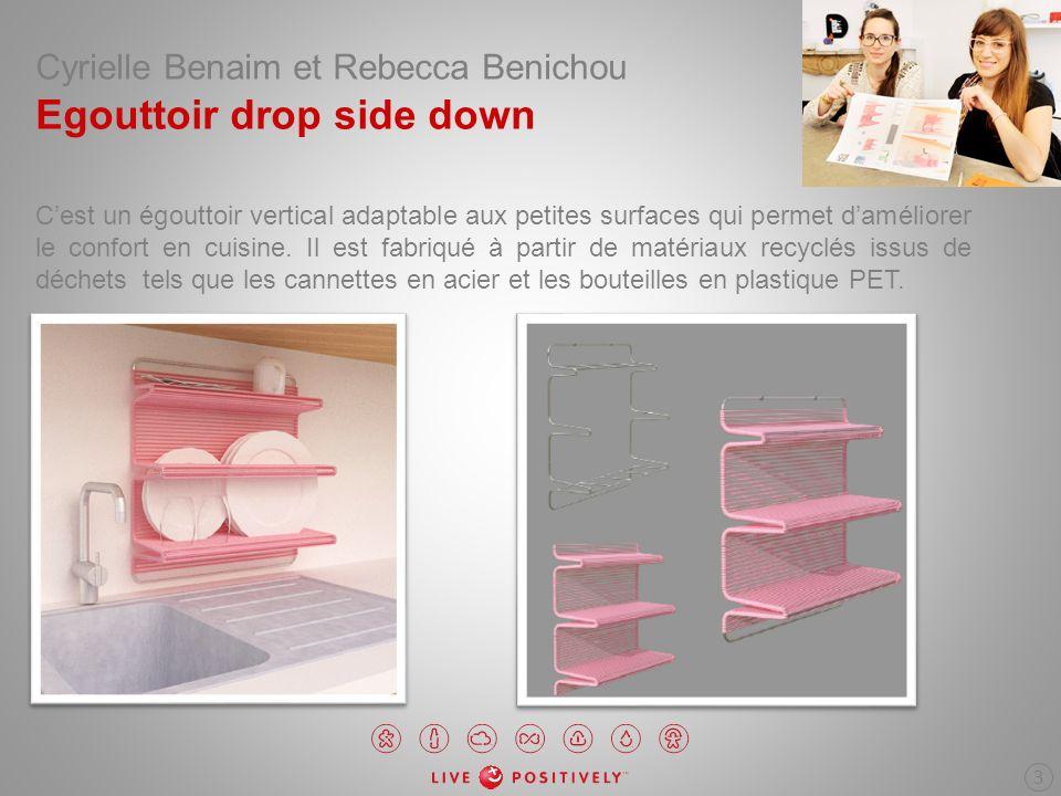 Cyrielle Benaim et Rebecca Benichou Egouttoir drop side down Cest un égouttoir vertical adaptable aux petites surfaces qui permet daméliorer le confor