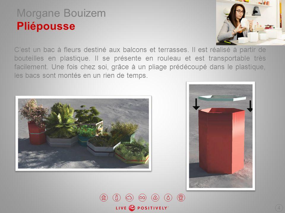 Morgane Bouizem Pliépousse Cest un bac à fleurs destiné aux balcons et terrasses. Il est réalisé à partir de bouteilles en plastique. Il se présente e