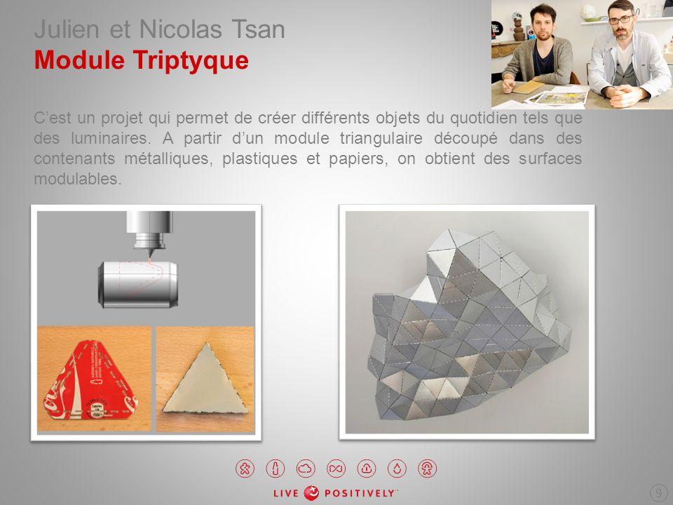 Julien et Nicolas Tsan Module Triptyque Cest un projet qui permet de créer différents objets du quotidien tels que des luminaires. A partir dun module