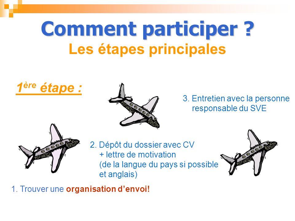 Comment participer ? Comment participer ? Les étapes principales 1 ère étape : 2. Dépôt du dossier avec CV + lettre de motivation (de la langue du pay