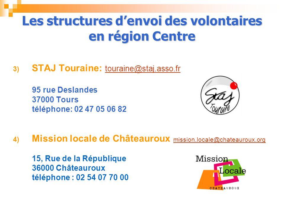 3) STAJ Touraine: touraine@staj.asso.fr 95 rue Deslandes 37000 Tours téléphone: 02 47 05 06 82 4) Mission locale de Châteauroux mission.locale@chateau