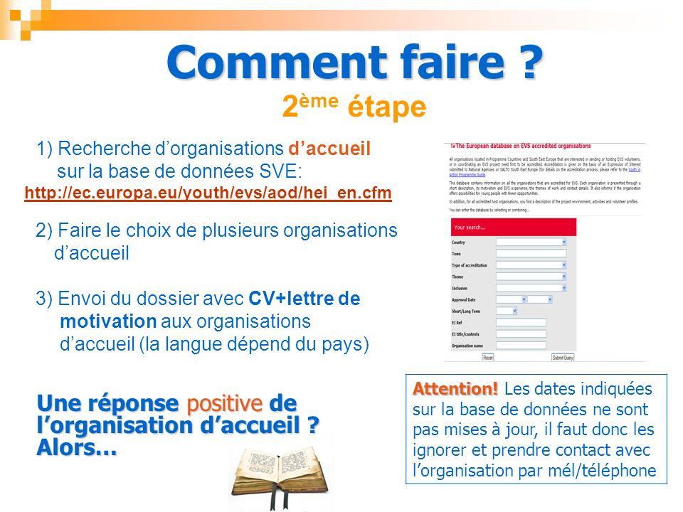 Comment faire ? Comment faire ? 2 ème étape 1) Recherche dorganisations daccueil sur la base de données SVE: http://ec.europa.eu/youth/evs/aod/hei_en.