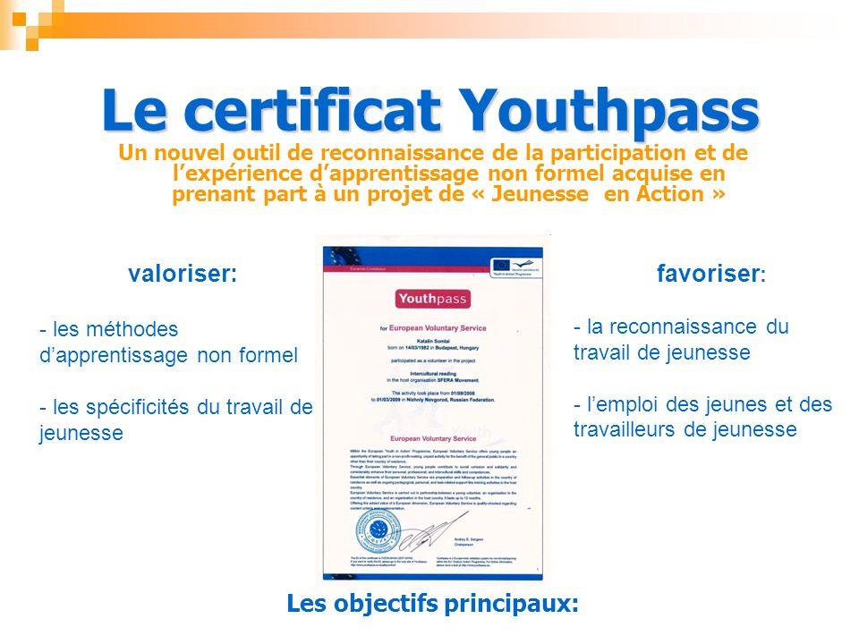 Le certificat Youthpass Un nouvel outil de reconnaissance de la participation et de lexpérience dapprentissage non formel acquise en prenant part à un projet de « Jeunesse en Action » Les objectifs principaux: valoriser: - - les méthodes dapprentissage non formel - - les spécificités du travail de jeunesse favoriser : - - la reconnaissance du travail de jeunesse - - lemploi des jeunes et des travailleurs de jeunesse