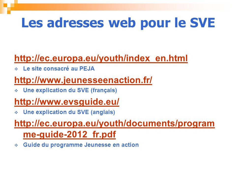 Les adresses web pour le SVE http://ec.europa.eu/youth/index_en.html Le site consacré au PEJA http://www.jeunesseenaction.fr/ Une explication du SVE (