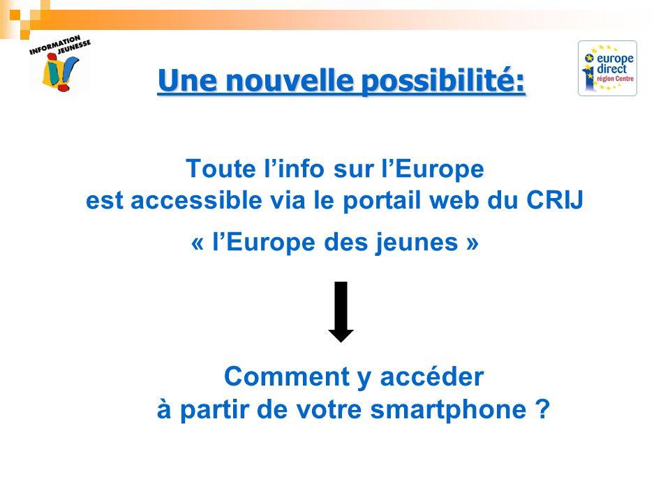 Toute linfo sur lEurope est accessible via le portail web du CRIJ « lEurope des jeunes » Comment y accéder à partir de votre smartphone ? Une nouvelle