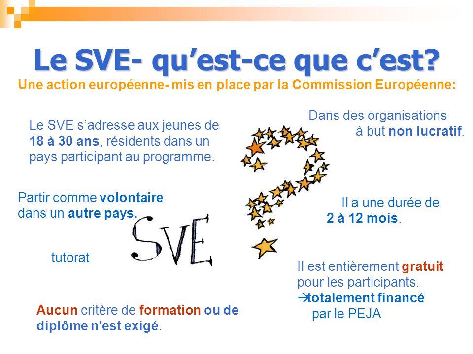 Le SVE- quest-ce que cest? Le SVE sadresse aux jeunes de 18 à 30 ans, résidents dans un pays participant au programme. Il est entièrement gratuit pour