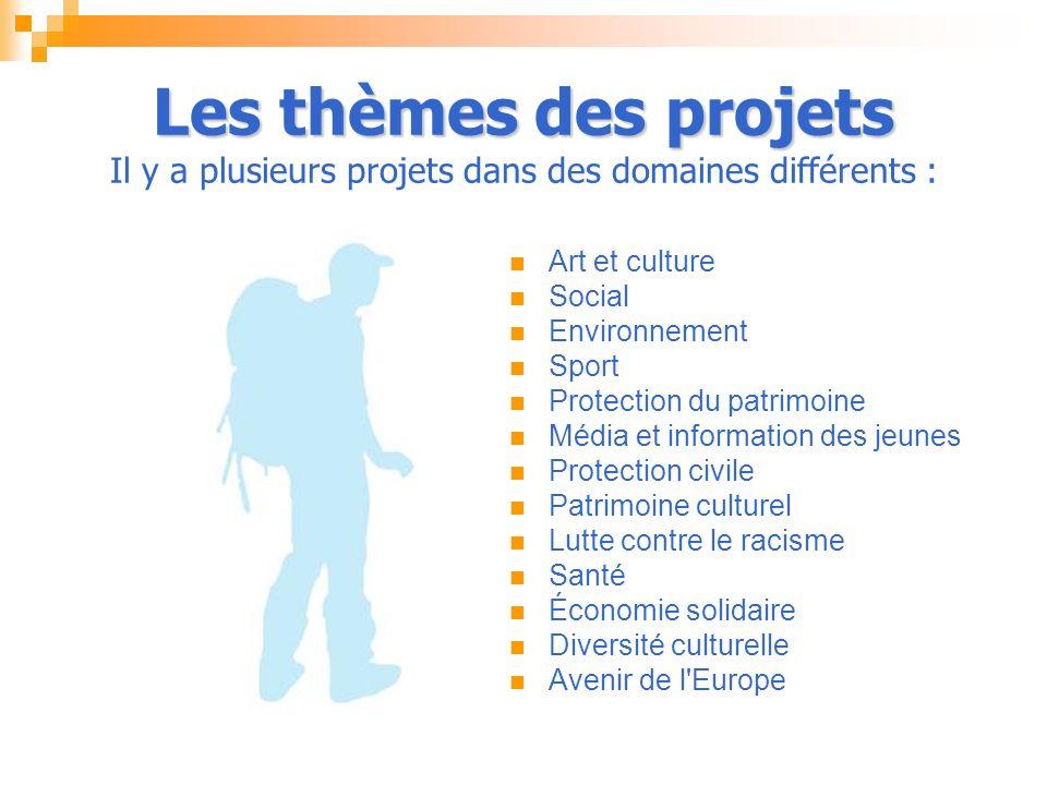 Les thèmes des projets Les thèmes des projets Il y a plusieurs projets dans des domaines différents : Art et culture Social Environnement Sport Protection du patrimoine Média et information des jeunes Protection civile Patrimoine culturel Lutte contre le racisme Santé Économie solidaire Diversité culturelle Avenir de l Europe