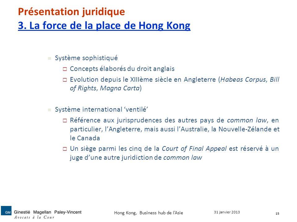Présentation juridique 3. La force de la place de Hong Kong Système sophistiqué Concepts élaborés du droit anglais Evolution depuis le XIIIème siècle