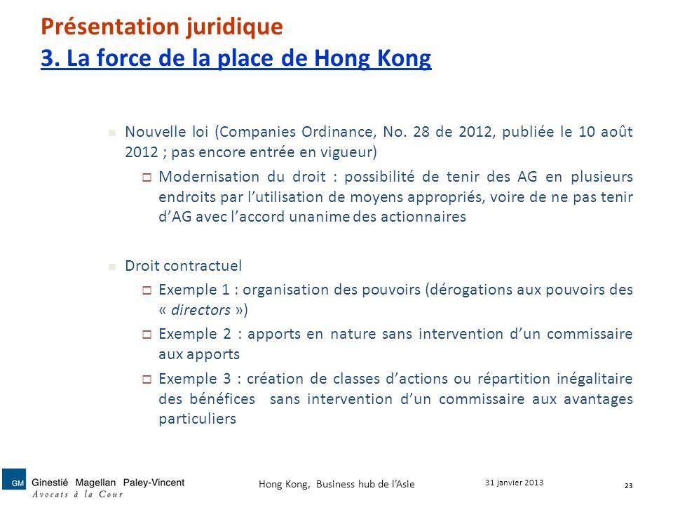 Présentation juridique 3. La force de la place de Hong Kong Nouvelle loi (Companies Ordinance, No. 28 de 2012, publiée le 10 août 2012 ; pas encore en