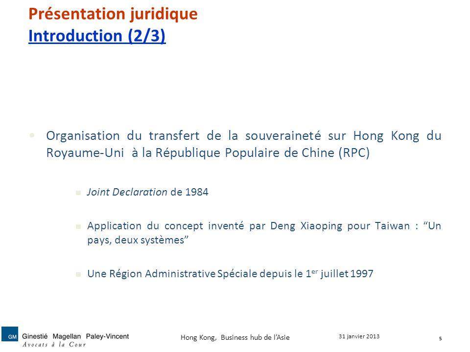 Présentation juridique Introduction (2/3) Organisation du transfert de la souveraineté sur Hong Kong du Royaume-Uni à la République Populaire de Chine