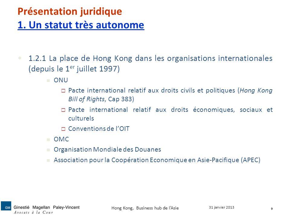 Présentation juridique 1. Un statut très autonome 1.2.1 La place de Hong Kong dans les organisations internationales (depuis le 1 er juillet 1997) ONU