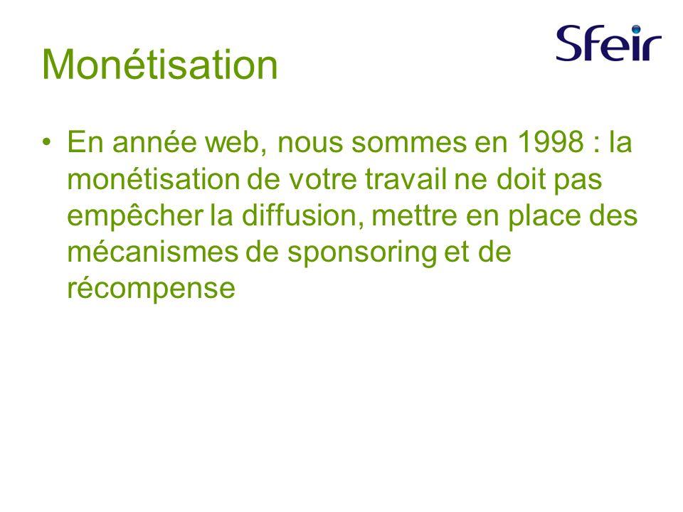 Monétisation En année web, nous sommes en 1998 : la monétisation de votre travail ne doit pas empêcher la diffusion, mettre en place des mécanismes de sponsoring et de récompense
