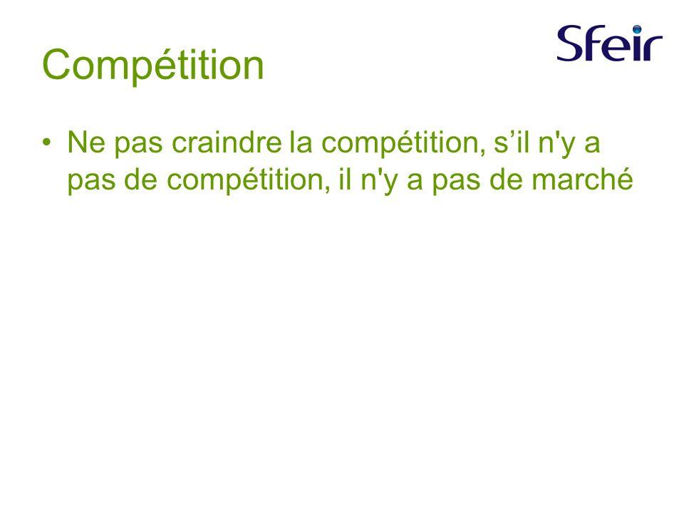Compétition Ne pas craindre la compétition, sil n y a pas de compétition, il n y a pas de marché