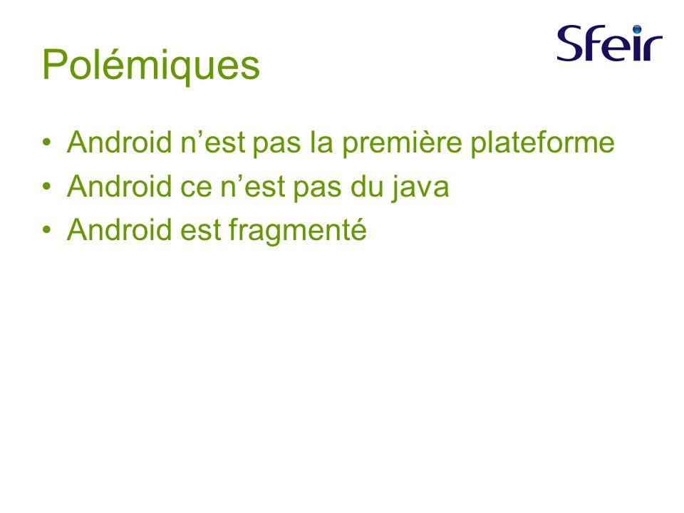 Polémiques Android nest pas la première plateforme Android ce nest pas du java Android est fragmenté
