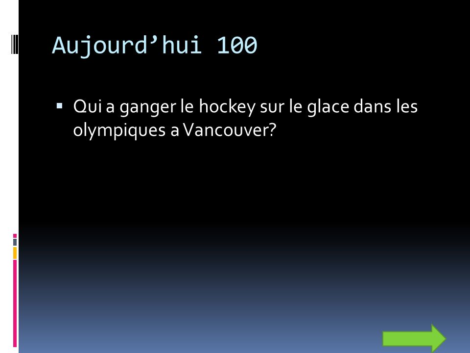 Aujourdhui 100 Qui a ganger le hockey sur le glace dans les olympiques a Vancouver