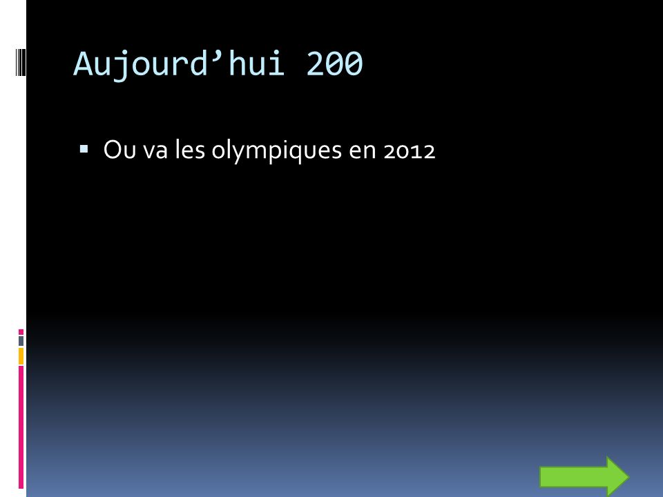 Aujourdhui 200 Ou va les olympiques en 2012
