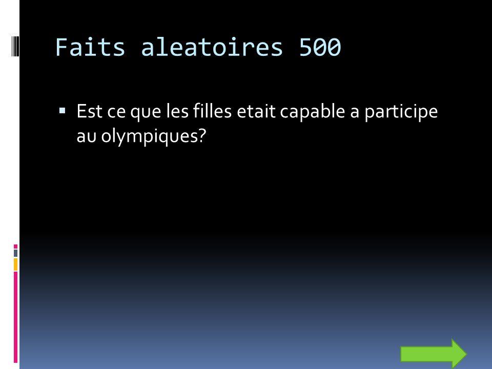 Faits aleatoires 500 Est ce que les filles etait capable a participe au olympiques
