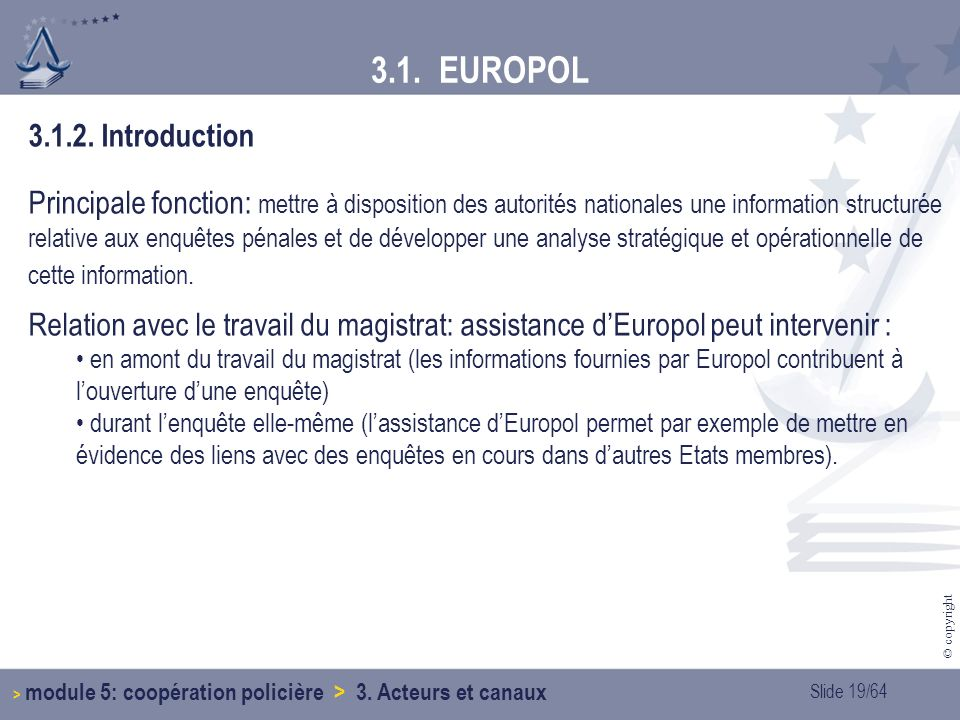 Slide 19/64 © copyright 3.1.EUROPOL 3.1.2.