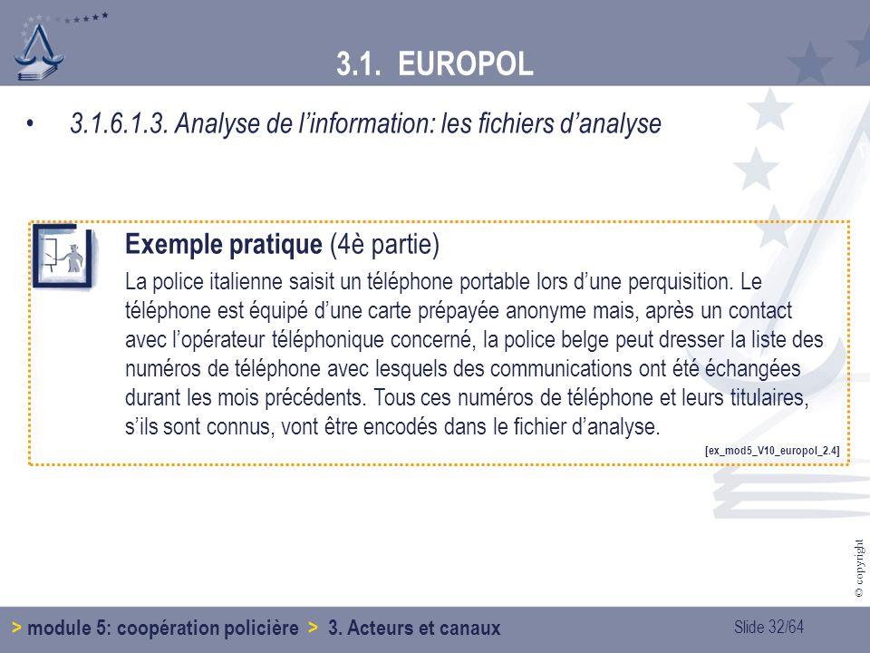 Slide 32/64 © copyright 3.1.6.1.3.Analyse de linformation: les fichiers danalyse 3.1.
