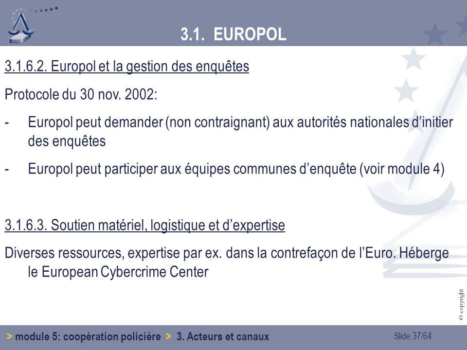 Slide 37/64 © copyright 3.1.6.2.Europol et la gestion des enquêtes Protocole du 30 nov.