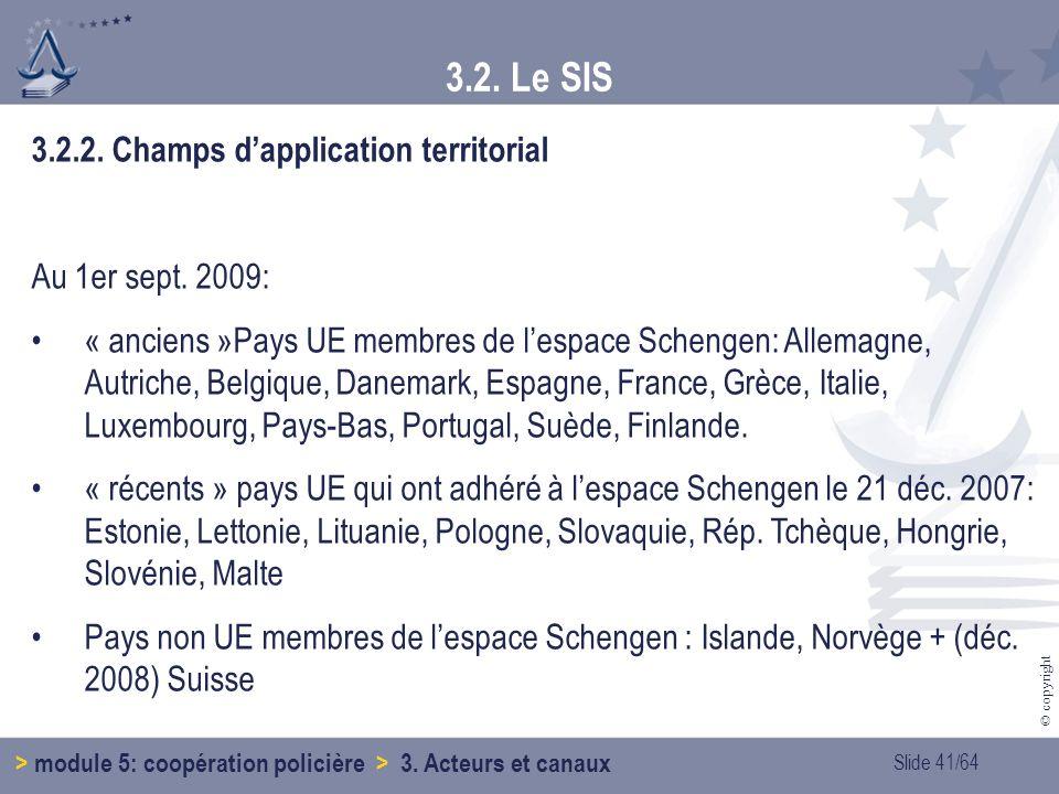 Slide 41/64 © copyright 3.2.2.Champs dapplication territorial Au 1er sept.