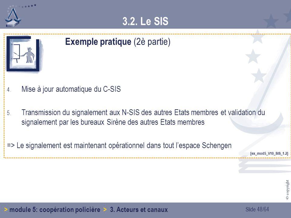 Slide 48/64 © copyright 3.2.Le SIS > module 5: coopération policière > 3.