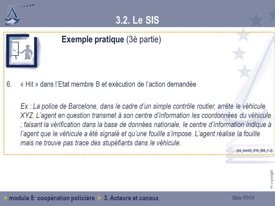Slide 49/64 © copyright 3.2.Le SIS > module 5: coopération policière > 3.