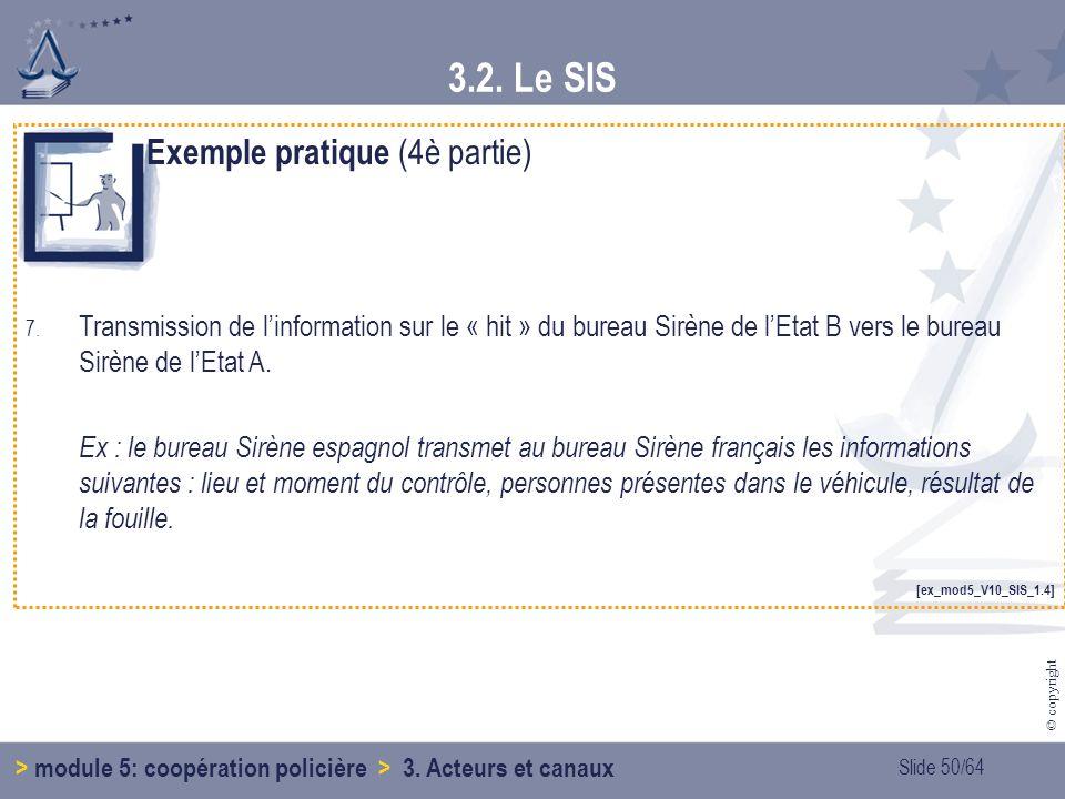 Slide 50/64 © copyright 3.2.Le SIS > module 5: coopération policière > 3.