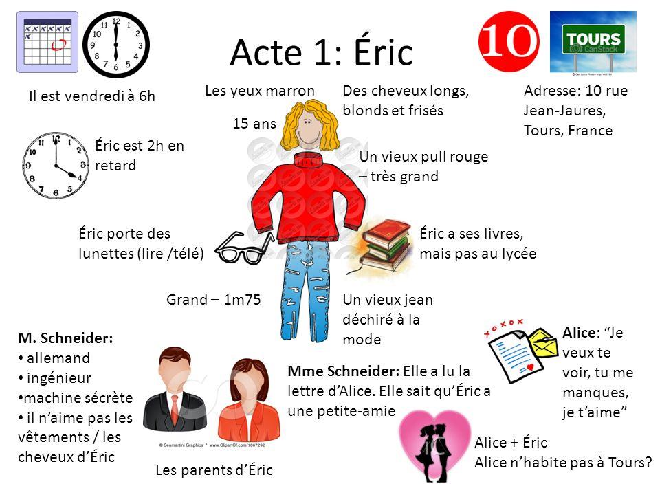 Acte 1: Éric Des cheveux longs, blonds et frisés Un vieux pull rouge – très grand Un vieux jean déchiré à la mode Éric porte des lunettes (lire /télé)