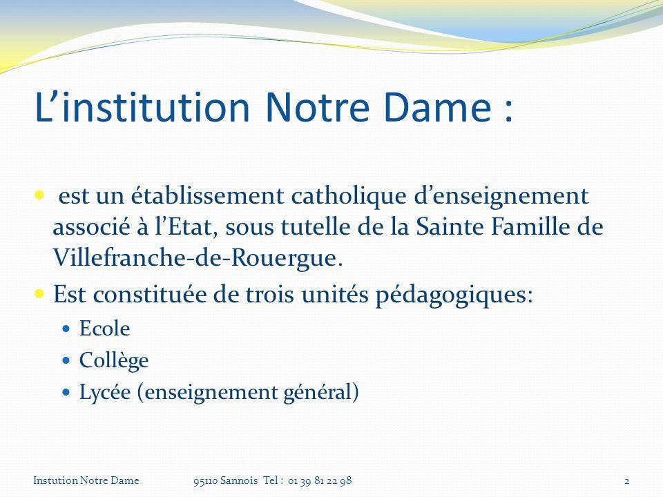 Linstitution Notre Dame : est un établissement catholique denseignement associé à lEtat, sous tutelle de la Sainte Famille de Villefranche-de-Rouergue