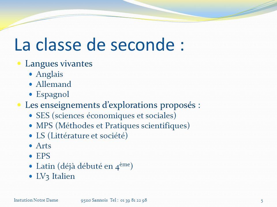 La classe de seconde : Langues vivantes Anglais Allemand Espagnol Les enseignements dexplorations proposés : SES (sciences économiques et sociales) MP