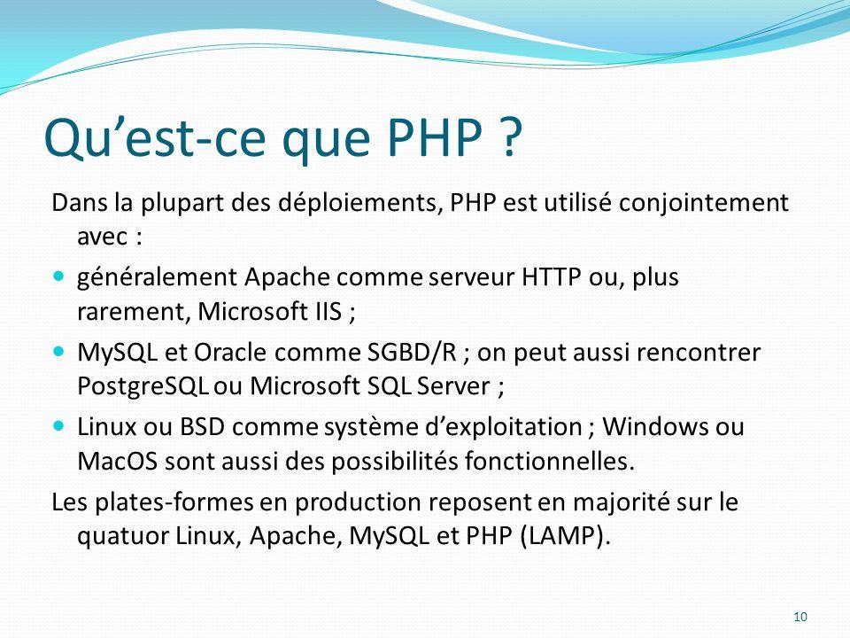 Quest-ce que PHP ? Dans la plupart des déploiements, PHP est utilisé conjointement avec : généralement Apache comme serveur HTTP ou, plus rarement, Mi