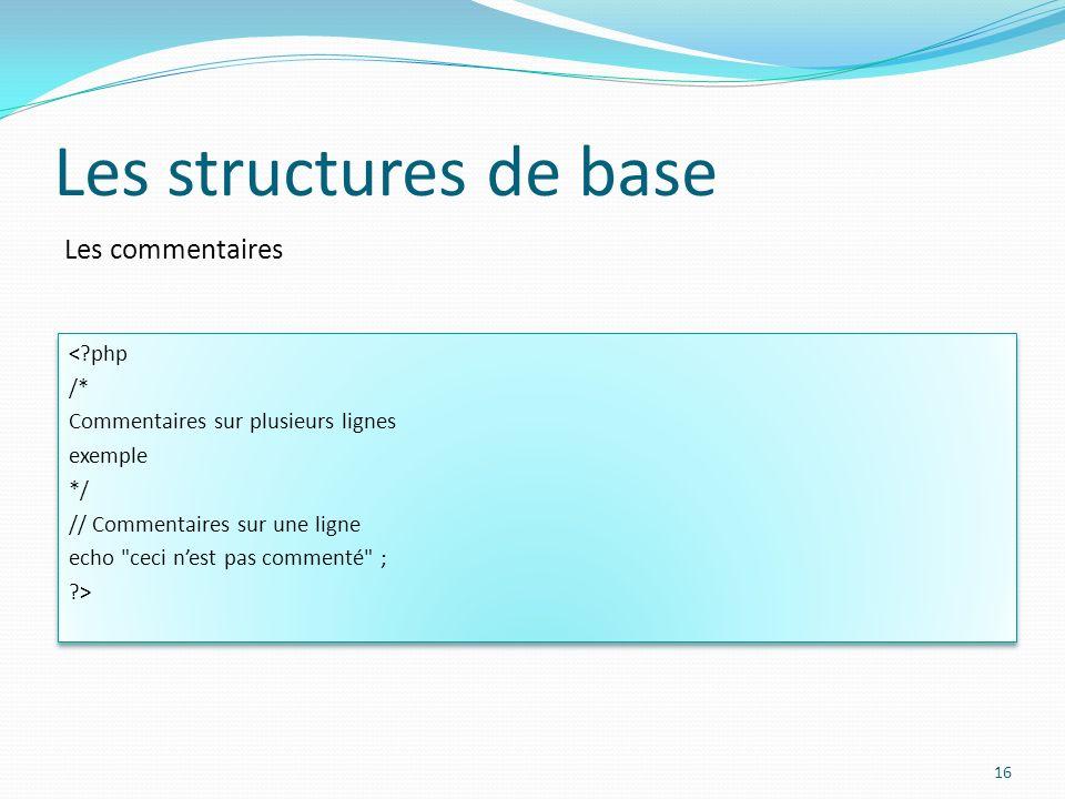 Les commentaires Les structures de base <?php /* Commentaires sur plusieurs lignes exemple */ // Commentaires sur une ligne echo