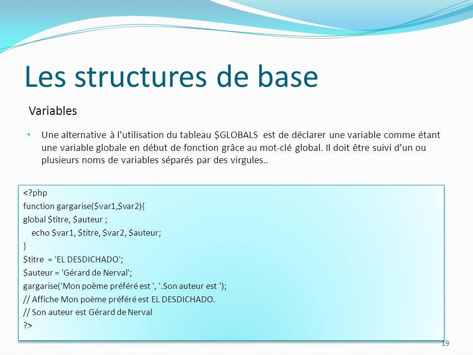 Variables Les structures de base Une alternative à lutilisation du tableau $GLOBALS est de déclarer une variable comme étant une variable globale en d