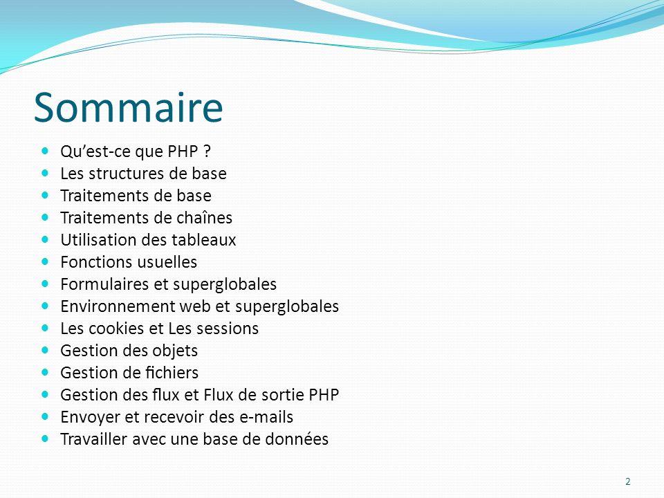 Sommaire Quest-ce que PHP ? Les structures de base Traitements de base Traitements de chaînes Utilisation des tableaux Fonctions usuelles Formulaires