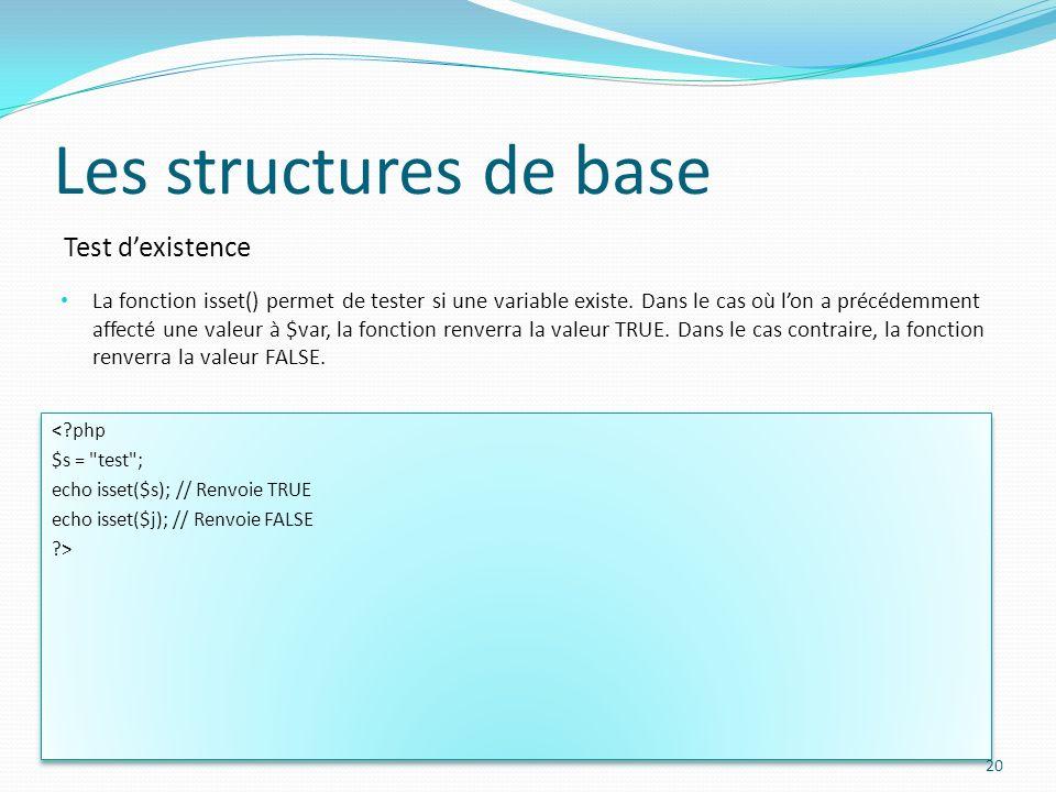 Test dexistence Les structures de base La fonction isset() permet de tester si une variable existe. Dans le cas où lon a précédemment affecté une vale