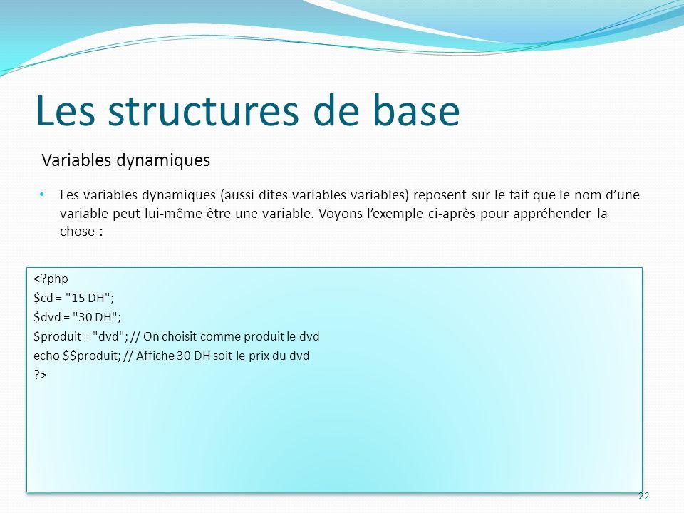 Variables dynamiques Les structures de base Les variables dynamiques (aussi dites variables variables) reposent sur le fait que le nom dune variable p