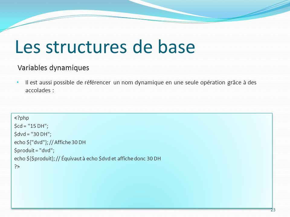 Variables dynamiques Les structures de base Il est aussi possible de référencer un nom dynamique en une seule opération grâce à des accolades : 23 <?p