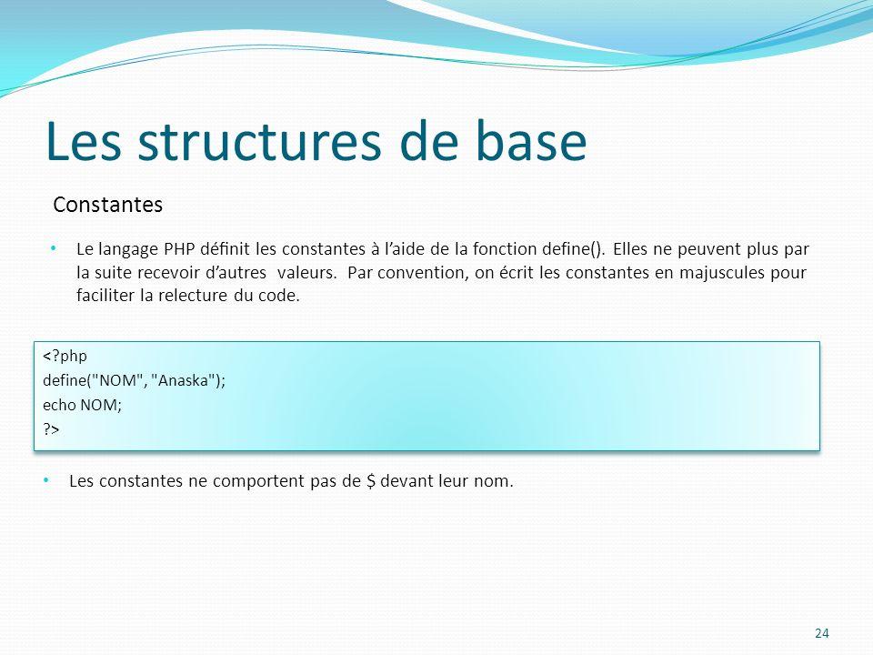 Constantes Les structures de base Le langage PHP dénit les constantes à laide de la fonction define(). Elles ne peuvent plus par la suite recevoir dau