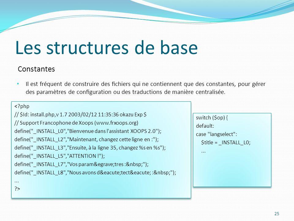 Constantes Les structures de base Il est fréquent de construire des chiers qui ne contiennent que des constantes, pour gérer des paramètres de congura
