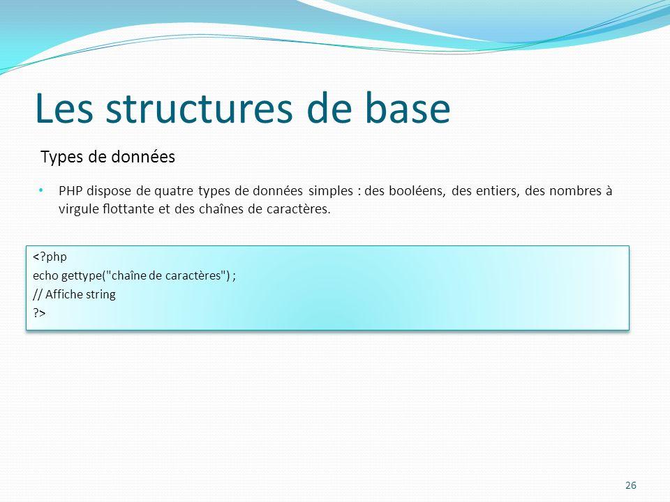 Types de données Les structures de base PHP dispose de quatre types de données simples : des booléens, des entiers, des nombres à virgule ottante et d