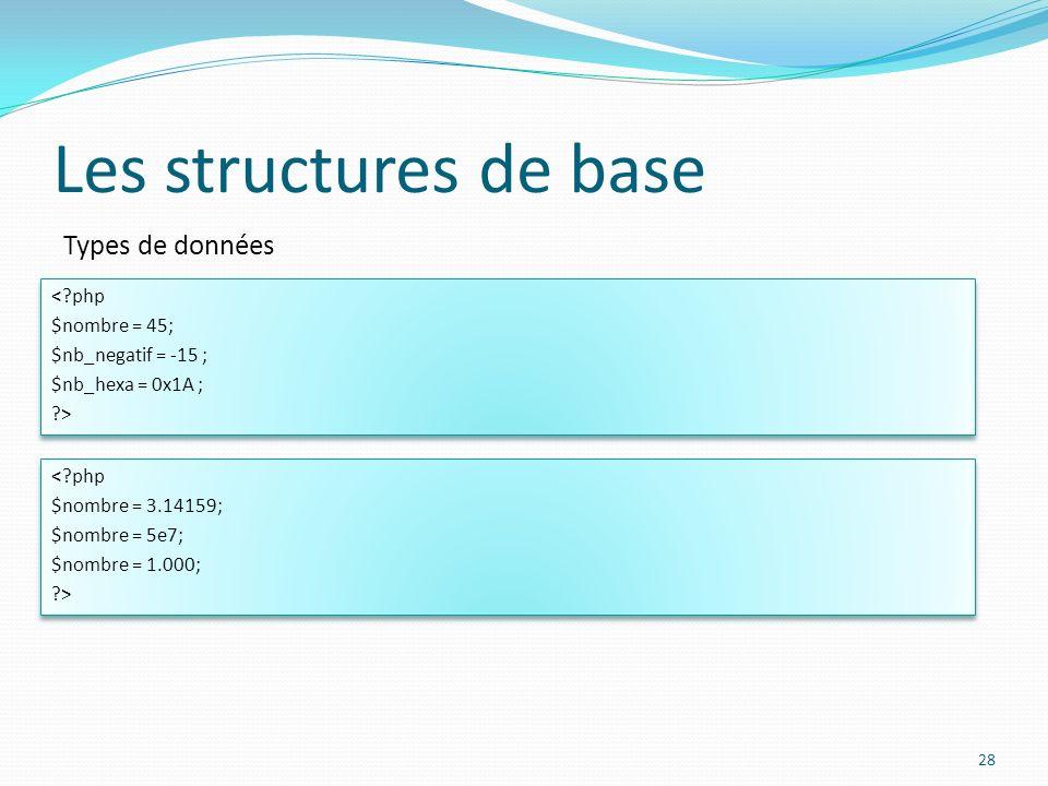 Types de données Les structures de base 28 <?php $nombre = 45; $nb_negatif = -15 ; $nb_hexa = 0x1A ; ?> <?php $nombre = 45; $nb_negatif = -15 ; $nb_he
