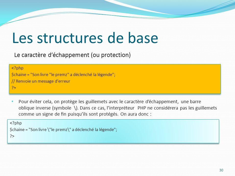 Le caractère déchappement (ou protection) Les structures de base Pour éviter cela, on protège les guillemets avec le caractère déchappement, une barre