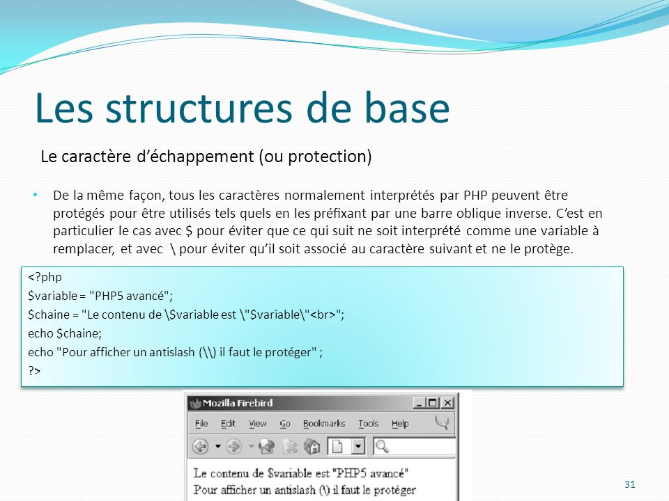 Le caractère déchappement (ou protection) Les structures de base De la même façon, tous les caractères normalement interprétés par PHP peuvent être pr