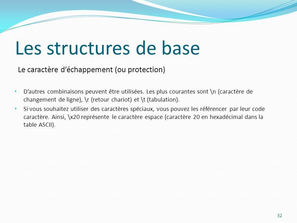 Le caractère déchappement (ou protection) Les structures de base Dautres combinaisons peuvent être utilisées. Les plus courantes sont \n (caractère de