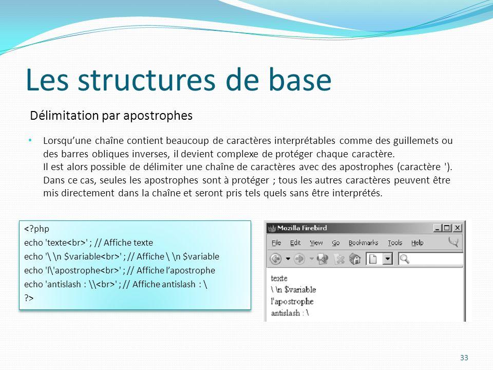 Délimitation par apostrophes Les structures de base Lorsquune chaîne contient beaucoup de caractères interprétables comme des guillemets ou des barres