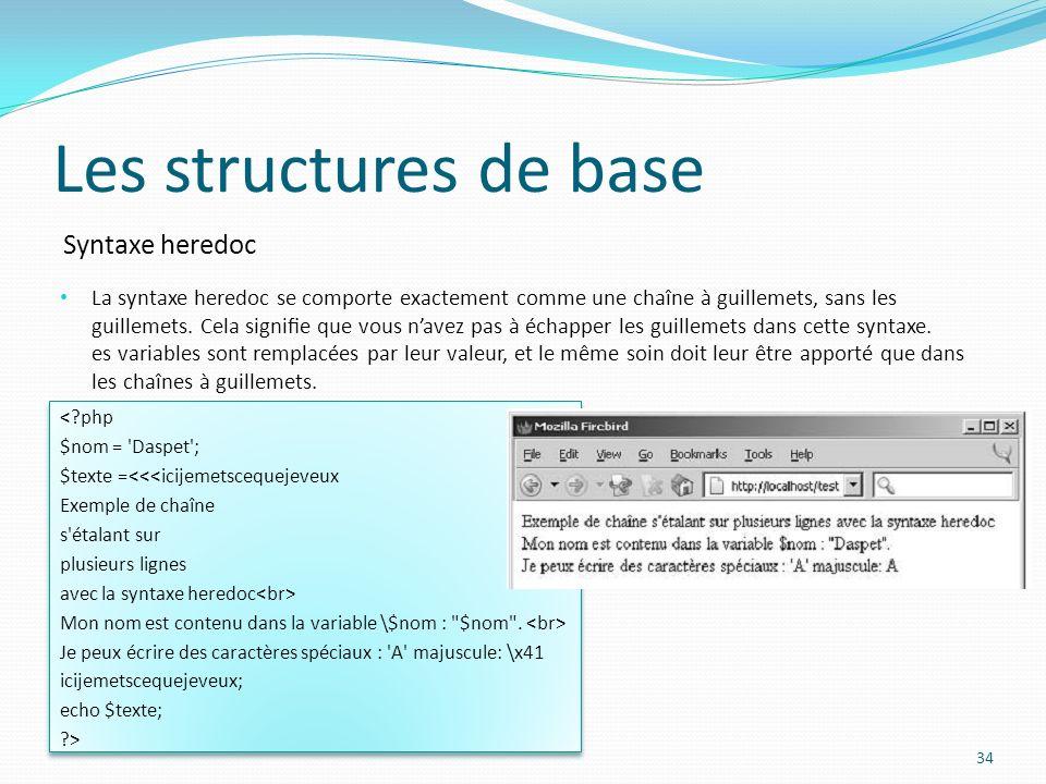 Syntaxe heredoc Les structures de base La syntaxe heredoc se comporte exactement comme une chaîne à guillemets, sans les guillemets.